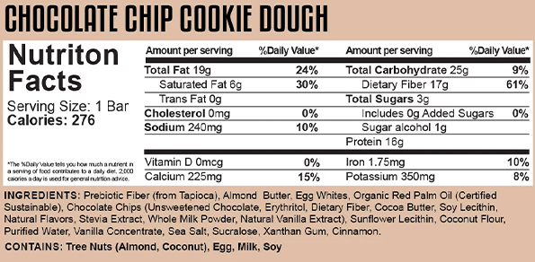 Popeye's Supplements Canada ~ Shop Online Now! - 5% Nutrition Knock The Carb Out Keto Bar - Chocolate Chip Cookie Dough