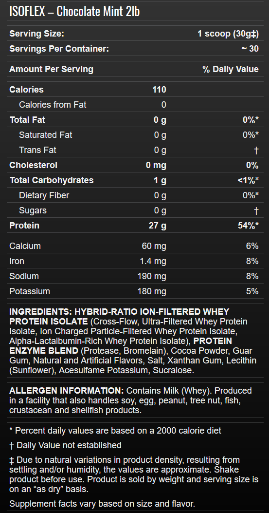 Allmax Isoflex Chocolate Mint 2lb Info