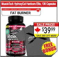 MuscleTech Hydroxycut Hardcore Elite 136 Caps + FREE BONUS Shirt